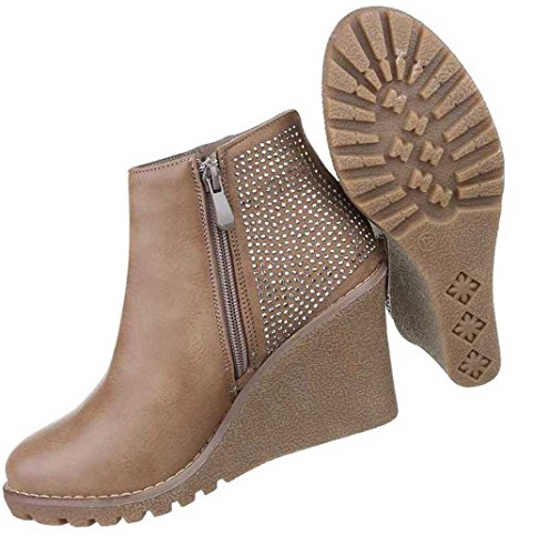 Damen Boots Stiefeletten Schuhe Keil Schwarz Grau Braun 36 37 38 39 40 41 Hellbraun