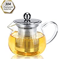 Teapot, Tea Pot 300ml, Heat Resistant Glass Teapot with Removable Infuser, Microwavable and Stovetop Safe.
