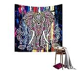 QEES Elefant Wandteppich mit Böhmischem Stil Indisch Hippie Wanddeko Wandbenhang Wandtuch Tischdecke Dekor für Schlafzimmer Wohnzimmer usw GT02 (Blau 1, 150×102cm)