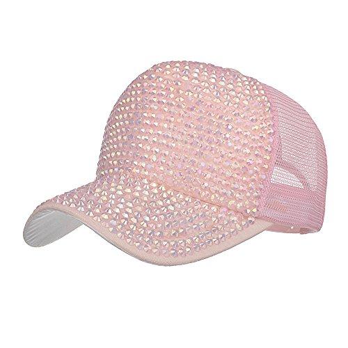 BURFLY Damen Casual Strass Cap, Frauen-Strass-Hüte weiße Baseballmütze Bling Diamond Hat (Rosa)