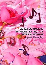 Cahier de Musique 96 pages 21x 29,7 cm Seyes & Portees: Interieur Seyes Grands Carreaux et Portees de Musique - Couverture Brillante Design 8