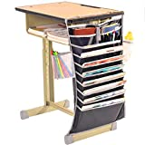 Libro tasca organizer – Borsa per studenti libro scrivania, tavolo da ufficio scrivania comodino appesi Textbooks desktop Supplies Tidy Storage Bag documento file Arrangement, regolabile da appendere rack desktop Supplies Tidy Storage Bag, dimensione: 43*65 cm Nero