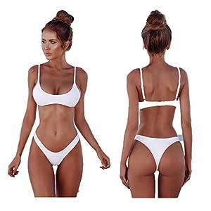 2018 Womens Sexy tinta unita Bikini brasiliano Set-Triangolo perizoma Soft imbottita perdita clivaggio Bikini Set 2… 2 spesavip