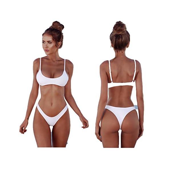 2018 Womens Sexy tinta unita Bikini brasiliano Set-Triangolo perizoma Soft imbottita perdita clivaggio Bikini Set 2… 1 spesavip