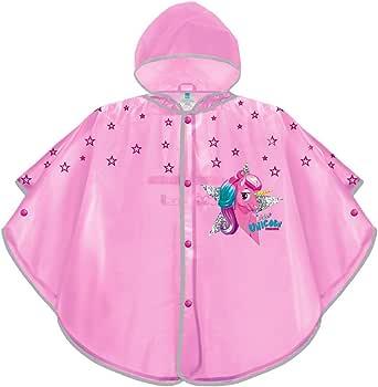 PERLETTI Mantellina Pioggia Bambina Unicorno Rosa - Poncho Antipioggia Baby Unicorn con Cappuccio e Bottoni - Kway Bimba per Bambine con Nuvolette - Impermeabile Taglia 3 4 5 6 Anni