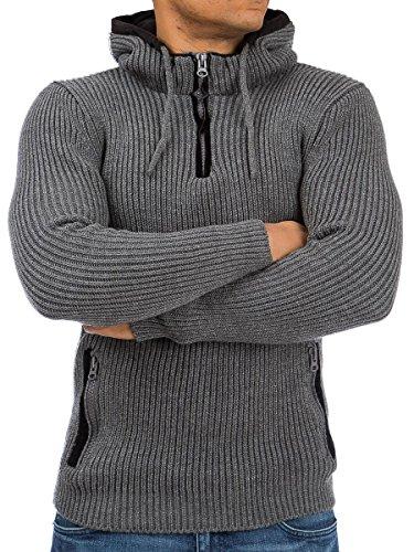 Pullover Strickpullover Herren Tazzio Hoodie Kapuze Shirt Langarmshirt Sweatshirt Strick Pulli Anthrazit