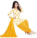 Ishin Women's Synthetic Unstitched Anarkali/ Patiala Salwar Suit Dress Material (Isdg-Rmz9120_White_Free Size)