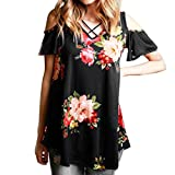 ASHOP Bluse Damen, T Shirt Herren, Frauen Plus Size Schulterfrei Blumendruck Tops Sommer T-Shirt Bluse (M, schwarz)