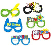 On The Wall Retro Superhero Comic Book Sketch Themed Photo Prop Glasses (Pack 6)