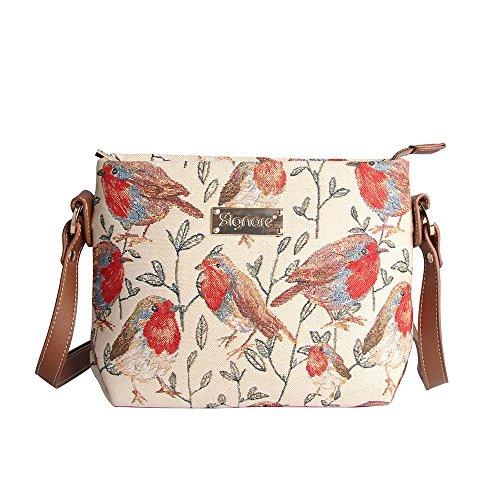Signare sac de messager sac porté-croisé d'épaule tapisserie mode femme floral Rouge-gorge