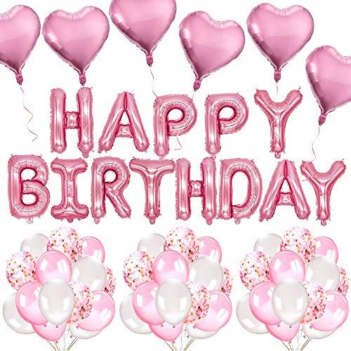 MMTX 46 Stück Geburtstagsdeko Mädchen Rosa Happy Birthday Girlande Luftballons Helium Folie Herz Ballon Spiralen Geburtstag deko Set für Geburtstag, Hochzeit, Deko Taufe Mädchen, Partys Dekorationen