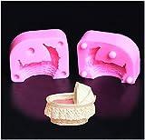 3D Baby Wiege DIY Kuchen Dekoration Silikonform Seifenformen Fondant Gießform für Schokoladen Gelee Muffin