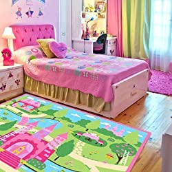 LELVA Cartoon Castle Girls Bedroom Rugs Delicate Little Flowers Bedroom Floor Rugs Cute Colorful Cartoon Kids Living Room Carpet