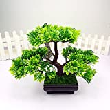 Switty 1PC accoglienti imitare pino bonsai simulazione fiori artificiali finto verde piante in vaso, Purple, F