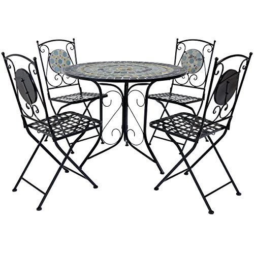 Charles Bentley Garden Blue Mosaic 5 Piece Dining Set With Folding Chairs Patio