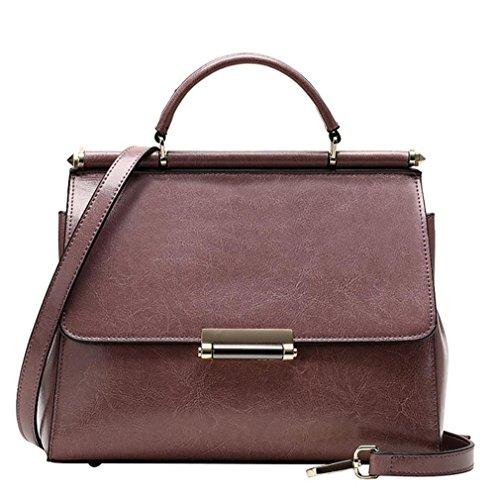 YANX La signora cera di petrolio della borsa a tracolla signora di modo della borsa di cuoio (27 * 21 * 11 cm) , viola