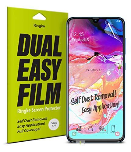 Ringke Dual Easy Film [2 Pack] Gestaltet für Galaxy A70 Displayschutz Folie 6.7