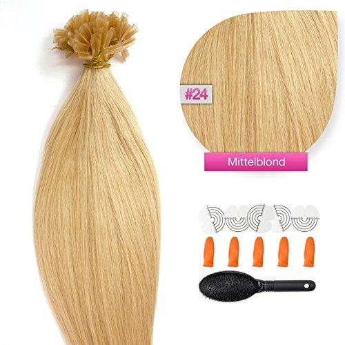 100 x 1g x 45cm Mittelblond Nr. 24 glatte indische Remy 100% Echthaar U-tip Extensions / Echthaar-Strähnen / Haarverlängerung mit gratis Zubehör (Extensions 24 Indischen Remy Hair)