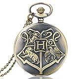 Nina Selles Harry Potter Taschenuhr mit Halskette - Hogwards School Crest Hexerei - Bronze Vitange NS500858