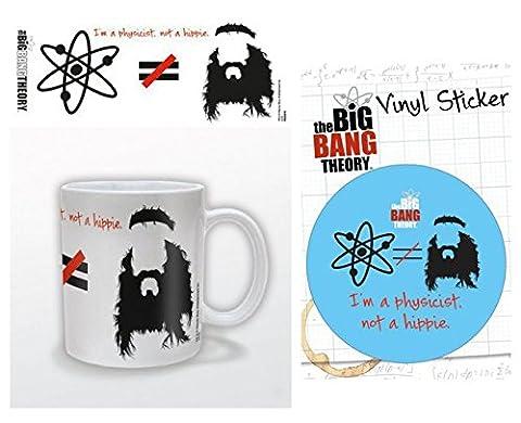 Set: The Big Bang Theory, Je Suis Physicien Pas Hippie, Équasion Tasse À Café Mug (9x8 cm) Et 1 The Big Bang Theory, Poster-Sticker Autocollant (15x10 cm)