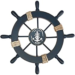 Barco de madera rueda decoración náutica colgante de pared decoración (tipo ancla)