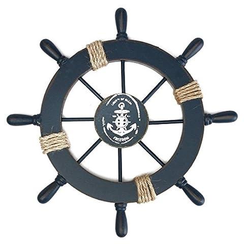 Tinksky Mediterranean Nautical Wooden Boat Ship Wheel Helm DIY Home Wall Party Decoration (Dark Blue)