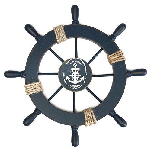 Rosenice décoration murale gouvernail pirate roue de navire en bois avec ancre
