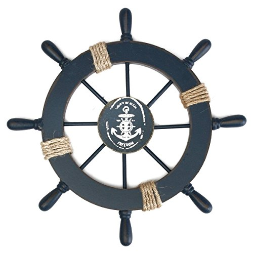 Tinksky Mediterraner Nautical Holz Boot Schiff Rad Helm DIY Home Wand-Party Dekoration (dunkelblau) - Schiff-rad