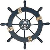 """WINOMO Decoración de madera mediterránea del trono de la rueda del barco del barco, 11 """"decoración del pirata (azul marino)"""