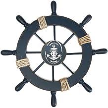 Barco de madera rueda decoración náutica colgante de pared decoración ...