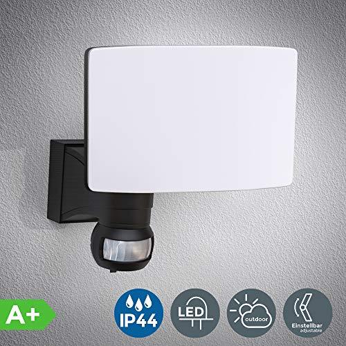 Faro LED esterno con sensore di movimento e crepuscolare, luce bianca naturale 4000K, luce di sicurezza con accensione automatica, 20W, IP44, lampada da parete, faretto nero, 230V