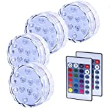 4PCS Luces Sumergibles, Piscina Luz LED Impermeable, Color Cambio, Control...