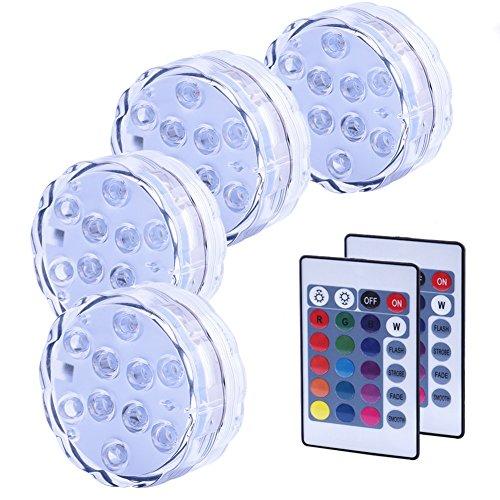 4PCS Luces Sumergibles, Piscina Luz LED Impermeable, Color Cambio, Control Remoto, Luces Decoración