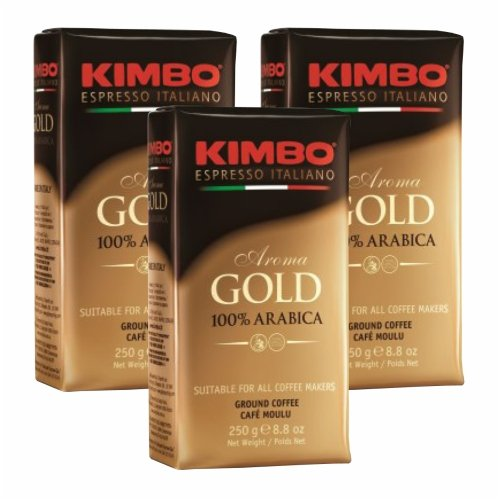 3x Kaffee gemahlen Kimbo Caffé 'Aorma Gold' 100% Arabica, 250 g