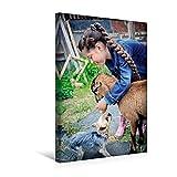 Premium Textil-Leinwand 30 cm x 45 cm hoch, Mädchen spielt mit der Ziege und einem Hund | Wandbild, Bild auf Keilrahmen, Fertigbild auf echter Leinwand, Leinwanddruck (CALVENDO Menschen)