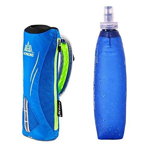 Imagen de aonijie hombre y mujer deportes al aire libre marathon mano bolsa  de hidratación senderismo running mano hold bolsa + 1pcs suave de 500ml, blue+1pcs 500ml soft flask alternativa