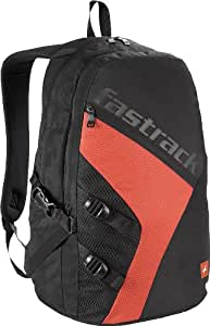 Fastrack 32 ltrs Black and Rust Casual Backpack (A0514NBK02)