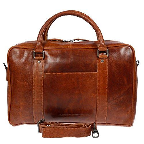 Christian Wippermann große Aktentasche Laptoptasche 15.6 Zoll aus echtem Leder mit TÜV geprüftem RFID Schutz Cognac -
