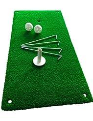 Alfombra de golf Revord para practicar golpeos. Práctica del golpeo y del drive. Para uso en casa y jardín; 30 cm x 60 cm. Textura de hierba natural. Completa con 2 bolas para practicar, 1 tee de goma y 4 clavijas.