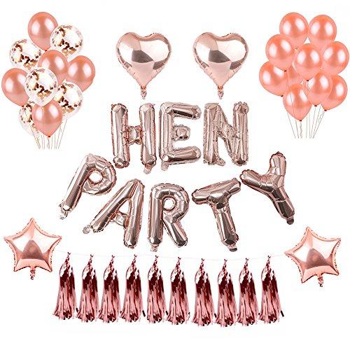 Party Dekorationen Selbstaufblasende Folie HEN PARTY Banner Sterne Herz Folie Ballon Konfetti Latex Ballons für Hen Do Nights Bachelor Party Supplies (Personalisierte Party Supplies)