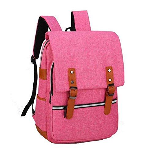 Männer Und Frauen Leinwand Student Tasche Reisetasche Rucksack Business Schulter Tasche Computer Tasche Einfach Wild Pink