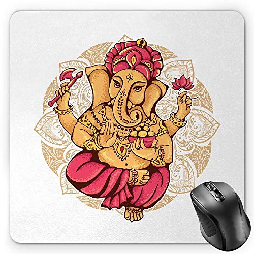 BGLKCS Spiritual Mauspads Mouse Pad, Dancing Elephant Symbol Traditional Ceremony Tattoo Oriental Design, Standard Size Rectangle Non-Slip Rubber Mousepad, Apricot Dark Coral Camel