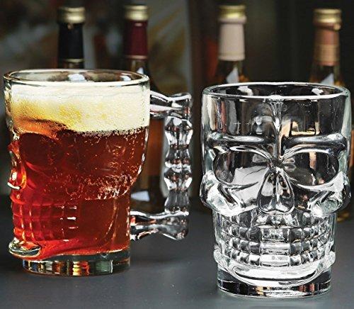 Classic Glas Bier Entwurf Tasse Gläser, ★ Halloween Skull ★, Set 4, Glaswaren Solide Behandelt klare Trinken Tassen, Pilsner Becher-set