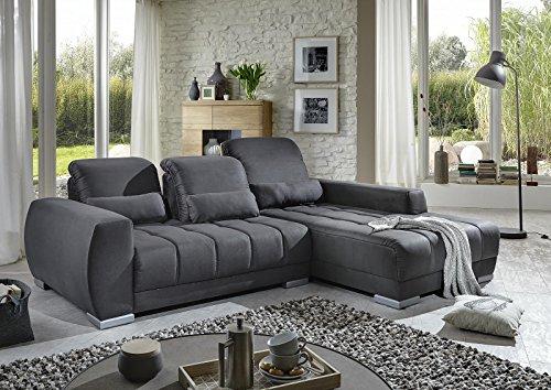 Ecksofa grau Stoff Kunstleder Couch Eckgarnitur Polsterecke günstig - 3