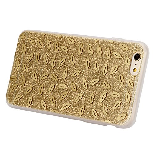 iPhone 6S Plus Hülle,iPhone 6 Plus Hülle,ikasus® iPhone 6 / 6S Plus Silikon Hülle [Kristallklar Durchsichtig],Bling Funkeln Glänzend Glitzer Überzug Muster Stoßdämpfend Transparent TPU Silikon Schutz  Golden Lippenstift