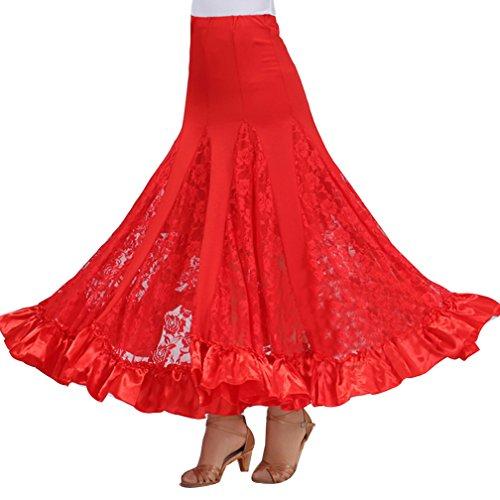 Donne elegante professionale gonna lunga di pizzo per danza del ventre del performante taglia unica rosso