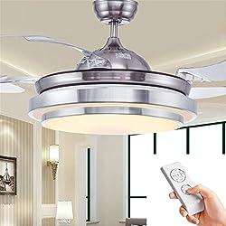Ventilador de techo simple Ventilador de techo simple con lámpara para sala comedor Ventilador delgado Luces colgantes Dormitorio Ventilador de moda moderno luces, Regulable + Control remoto, 42 Pulga