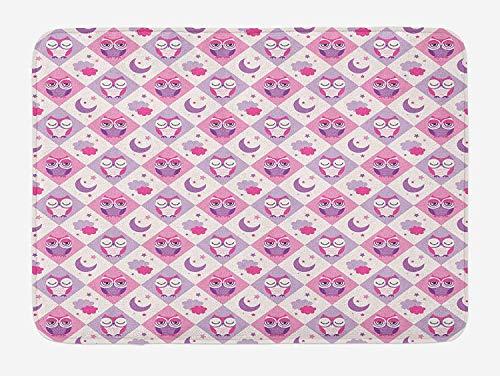 VTXWL Owls Bath Mat, Sleeping Owls in Diamond Pattern Half-Moon Stars Clouds Night Time Goodnight Art, Plush Bathroom Decor Mat with Non Slip Backing, 23.6 W X 15.7W Inches, Pink Lavender Half Moon Knife