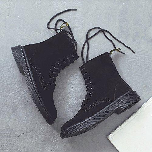 FLYRCX Europea di autunno e inverno in pelle stivali di Martin con il velluto e caldo e stivali antislittamento,43 43