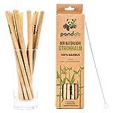 pandoo 12er-Pack Strohhalme 100% Bambus